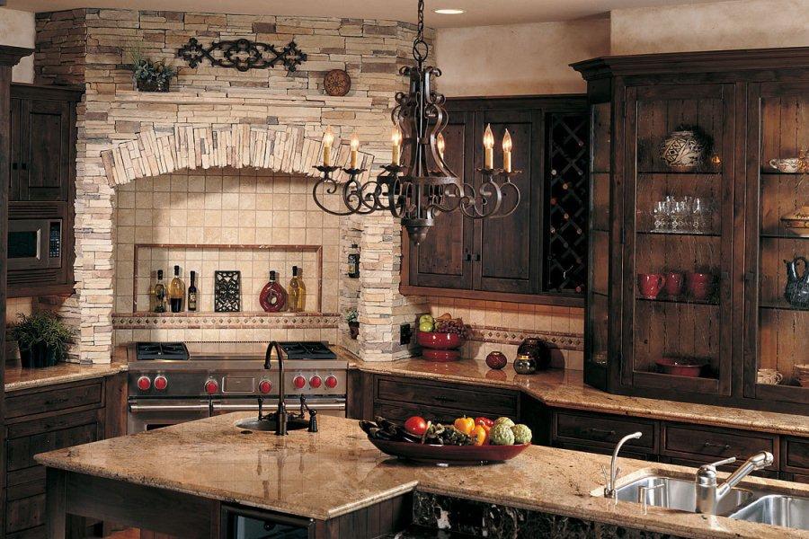 Дизайн интерьера кухни камень